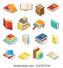 Book icon isometric set. Realistic collection of book symbols in bright covers, school or bookstore image. Vector flat style cartoon illustration isolated on white background