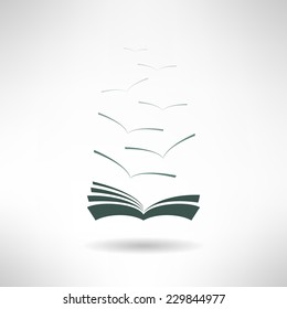 Book icon with seagulls made in modern flat design. Learning and library concept. Vector illustration