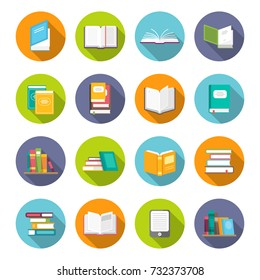 Book icon set. Learning facts, information, descriptions, or skills, study or investigation textbooks. Vector flat style cartoon illustration isolated on white background