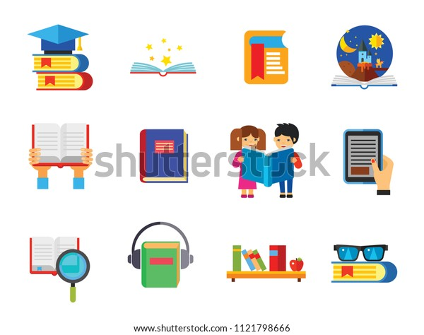 Book Icon Set. Magnifier Reading Book With Glasses Bookshelf E-book Open Book Children Reading Tales Bookmark Science Audiobook Books Stack