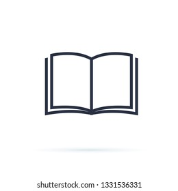 Book icon vector. Open Book symbol. Cool vector flat design illustration on reading with abstract line open book. Knowledge, learning and education concept design. Magazine sign. Education or learning