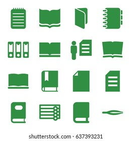 Book icons set. set of 16 book filled icons such as wooden wall, book, tweezers, notebook, binder, man and document