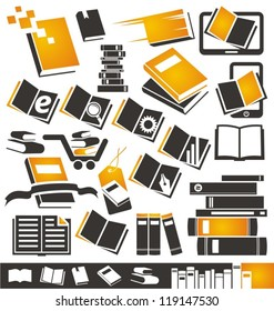 Book icons set. Collection of book symbols, signs and logo designs.