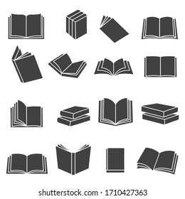 Book icons set, isolated on white background, vector illustration.