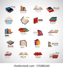 Book Icons Set - Isolated On Gray Background - Vector Illustration, Graphic Design Editable For Your Design.