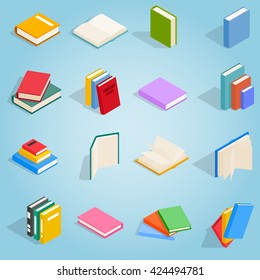 Book icons set in isometric 3d style for any design. School books isolated on white background. Encyclopedia set and textbook signs vector illustration