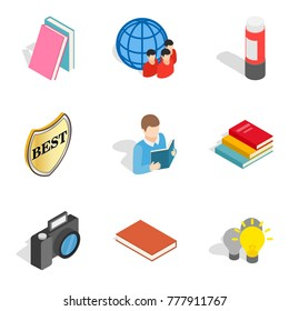 Book icons set. Isometric set of 9 book vector icons for web isolated on white background