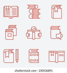 Book icons, thin line style, flat design