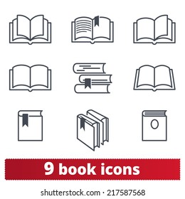 Book icons: vector set