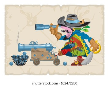 Book illustrations, 34. Pirate with a telescope, vector
