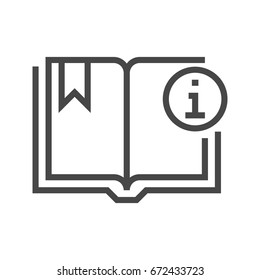 Book with Info Sign Thin Line Vector Icon. Flat icon isolated on the white background. Editable EPS file. Vector illustration.