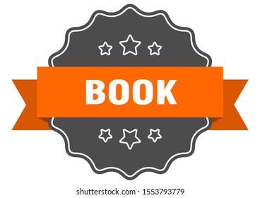 book isolated tag. book orange label sign. orange ribbon