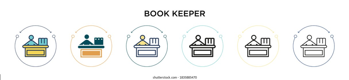 Book keeper icon in filled, thin line, outline and stroke style. Vector illustration of two colored and black book keeper vector icons designs can be used for mobile, ui, web