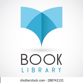 Book library 3D read logo element education vector design symbol shape icon template business store or shop company
