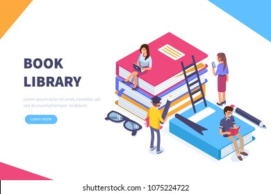 Book library concept banner with characters. Can use for web banner, infographics, hero images. Flat isometric vector illustration isolated on white background.