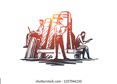 Book, library, education, literature, knowledge concept. Hand drawn people reading books in library concept sketch. Isolated vector illustration.