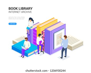 Book library isometric with people.  Internet archive concept and digital learning for web banner. Dictionary, encyclopedia  and literature e library vector illustration.