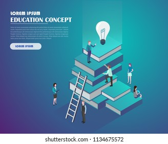 Book library with people. Education and knowledge concept infographics. Flat isometric vector illustration. Landing page template. 3d vector illustration.
