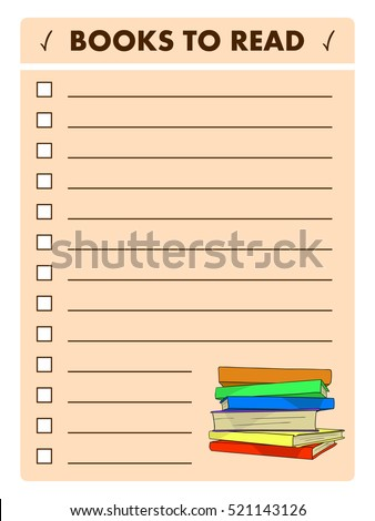 book list reading log books read stock vector royalty free