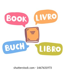Book, livro, buch, libro. Translation concept. Hand drawn vector icon illustrations on white background.