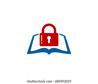 Book Lock Icon Logo Design Element