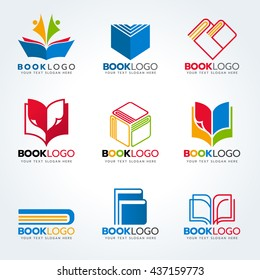 Book logo for education and business vector set design