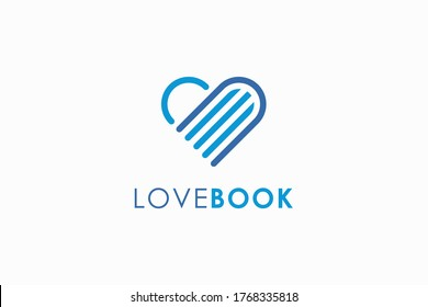 Book Logo Education Symbol. Blue Geometric Linear Rounded Style Heart Icon Initial Letter B isolated on White Background. Flat Vector Logo Design Template Element.