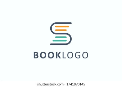 Book Logo Education Symbol. Geometric Linear Rounded Style Initial Letter S isolated on White Background. Flat Vector Logo Design Template Element.