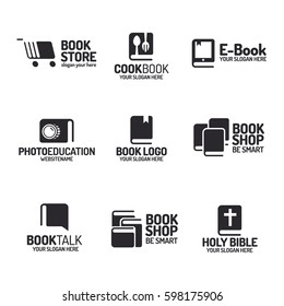 Book logo set flat black style isolated on background for use bookshop, bookstore, cookbook, book-talk, photo-education, market, sale etc. Vector Illustration