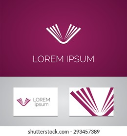 book logo template icon design elements with business card