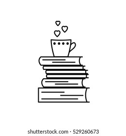 Book love icon. Black and white vector isolated, linear sign. We like books symbol for stores, libraries, collections. I like to read pictogram showing stack of books and mug. Hearts instead of steam