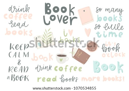 Book Lover Quotes | Book Lover Hand Drawn Quotes Words Stock Vector Royalty Free