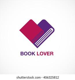 book lover, icon, flat design, logo, vector