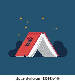 Book lovers themed illustration in minimal flat style, vector. Bookworm related figurative background with camping tent made of open book
