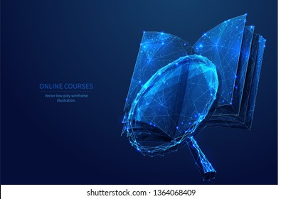 Book and magnifying glass. Low poly wireframe online education blue background or concept with opened book. Digital Vector illustration. Online reading or courses. Abstract polygonal image of notebook