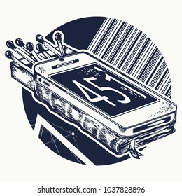Book and matches tattoo and t-shirt design. Symbol of censorship and promotion, freedom and slavery, life deprived of civil rights