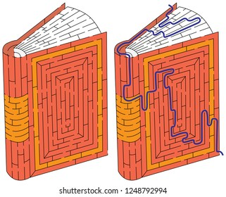 Book maze for kids with a solution