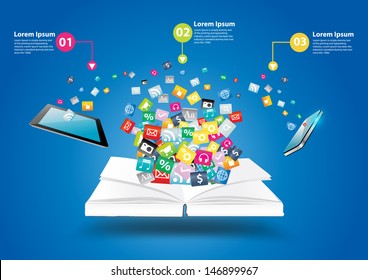 Book with mobile phones and tablet computer PC, With cloud of colorful application icon business software and social media networking idea concept, Vector illustration modern template design