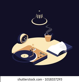 Book , music and coffee after midnight isometric illustration