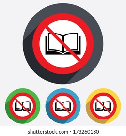 Book not allowed sign icon. Open book symbol. Red circle prohibition sign. Stop flat symbol. Vector
