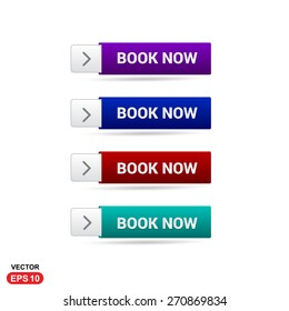Book Now New Order Button. Abstract beautiful text button with icon. Purple Button, Blue Button, Red Button, Green Button, Turquoise button. web design element. Call to action gray icon button