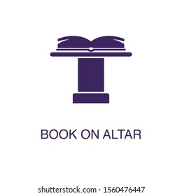 Book on altar element in flat simple style on white background. Book on altar icon, with text name concept template