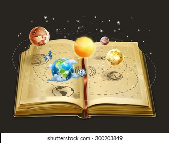 Book on astronomy, vector icon