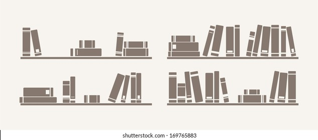 Book on shelf icon vector set. Bookshelf school objects for decorations, background, textures or interior wallpaper. Sign, symbol, banner or flat design element