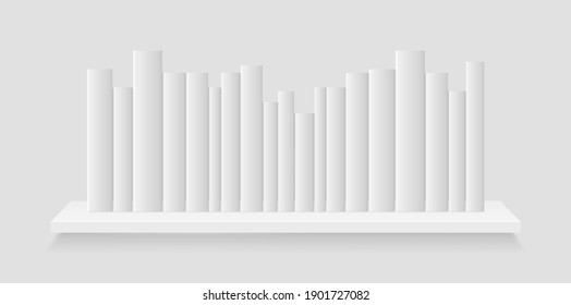 Book on white bookshelf. Mockup of books stack on shelf in library or store. Catalog literature for home, office. Shelve on wall isolated on gray background. Realistic template for education. Vector.