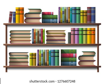 Book on wooden wall shelf isolated on white in illustration vector icon design