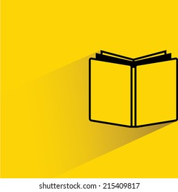 book on yellow background, flat and shadow theme design