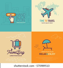 Book online button flat icon, Airplane flat icon, Travel bag flat icon and Relax & Enjoy flat icon / vector illustration eps-10.