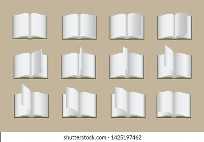 Book Page Flipping Animate Frame Vector Illustration