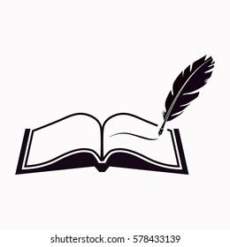 Book with pen  icon. Vector design.